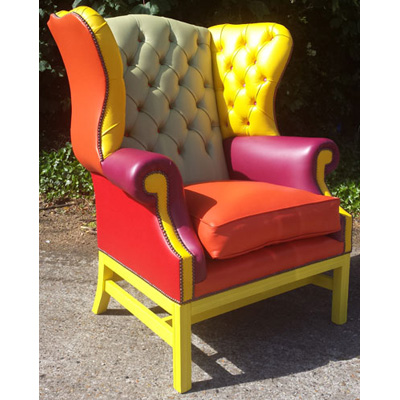 Image of Multi Coloured Library Wing Chair by Claridge Upholstery